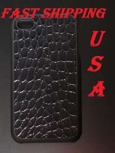DELUXE BLACK CASE CROCO LEATHER STYLE IPHONE 4 4S + GIFT