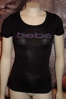BIG SALE PRICES BUY NOW *xs*s*m*l* BEBE LOGO tee shirt top *black