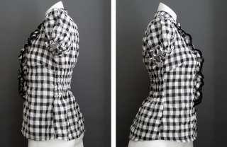 Cute Forever 21 XXI Black & White Crinkle Plaid Ruffle Stretch Top
