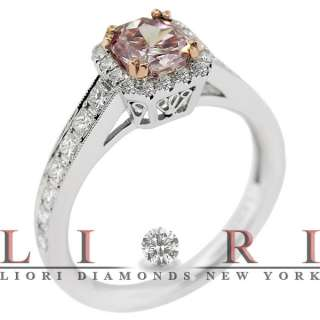 NATURAL FANCY PINK DIAMOND ENGAGEMENT RING 18K   FD 274