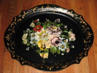 BIG Vtg Hand Painted BLACK CHIPPENDALE Roses TOLE TRAY