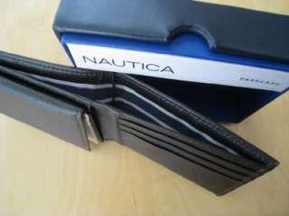 NAUTICA MENS BROWN LEATHER BIFOLD PASSCASE VALET WALLET