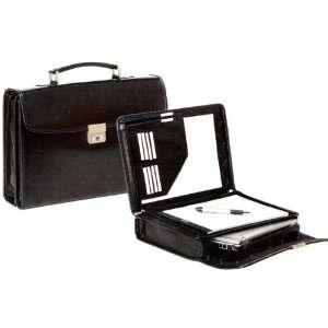 Bugatti Black Leather Laptop Briefcase W/writing case
