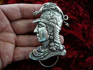 E503) Noble man helmet Eyeglass Silver pin ID badge holder