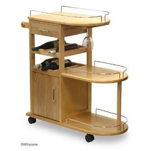 Functional Solid Wood Kitchen Serving Cart w/Storage:  Home