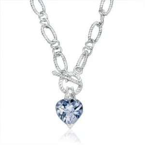 Sterling Silver Link Chain Heart Shaped Blue Topaz Pendant