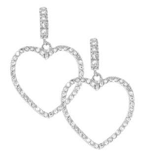 Sterling Silver Clear CZ Heart Shaped Dangle Earrings