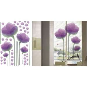 Wall Sticker Decal  Purple+Red Flowers 65H x 76W
