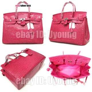 Noble temperament croc embossed classic Lock bag womens handbag uk67