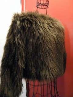 BEBE FAUX FUR brown jacket COAT SHRUG CROP 169299