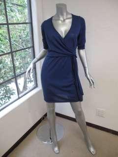 Moschino Cheap & Chic Blue 3/4 Sleeve V Neck Sweater Dress 10