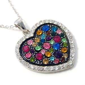 Mixed Tone Heart Necklace Birthday Women Girl Gift Present Pink