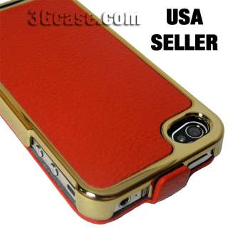 Red Genuine Leather Premium Flip Case for New iPhone 4S
