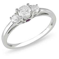 14k White Gold 1/2ct TDW Diamond and Pink Sapphire Ring (H I, I2 I3