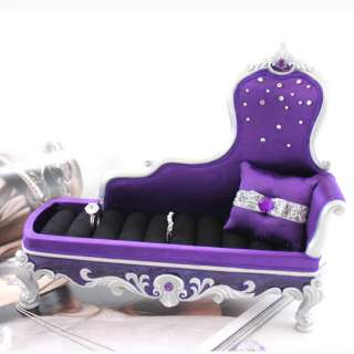 Chiffon Rose Victorian Chaise Lounge Ring Holder Purple
