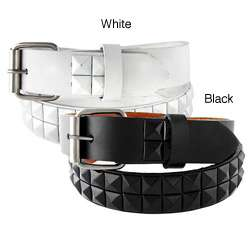 Kids Black and White Studded Faux Leather Belt