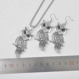 7305 Wholesale Fashion Retro Silver VINTAGE Owl Jewelry Sets Earrings