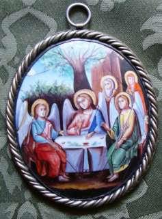 Antique Russian Icon   Hand Painted Enamel  c1880  THREE ANGELS