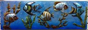 Aquarium Like Metal Wall Decor of Tropical Fish and Coral