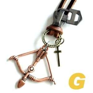 COOL MEN Genuine Leather NECKLACE Bow And Arrow MNG72