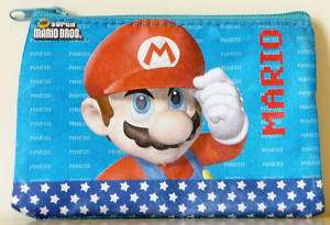 Super Mario Bros red hat blue Zipper Coin Purse Bag