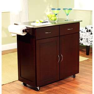 Large Kitchen Cart, Espresso with Stainless Steel Top