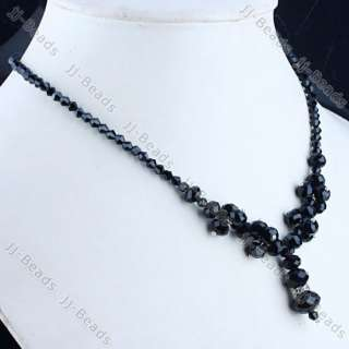 Gorgeous Black Crystal Glass Bead Necklace 1Strand Lady