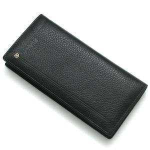 Genuine Leather Bifold Mens Long Wallet Card Check Purse Black