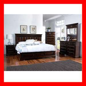 Transitional Walnut 5 Pc Queen King Bed Bedroom Set Furniture