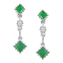 14k White Gold Diamond Emerald Earrings