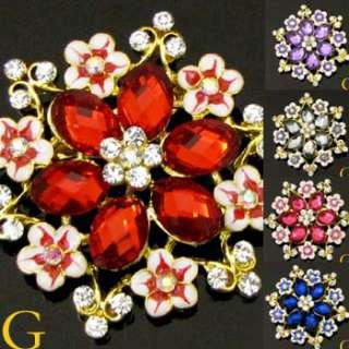 brooch pin with sparkling austrian rhinestone crystals and glass glaze