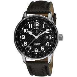 Zeno Mens XL Pilot Black Carbon Fiber Face Watch