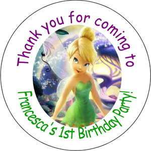 12 Tinkerbell Tinker Personalized favor stickers personalized Birthday