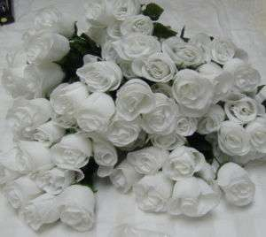 28 White Silk Roses Buds Flowers 4 Bushes D955