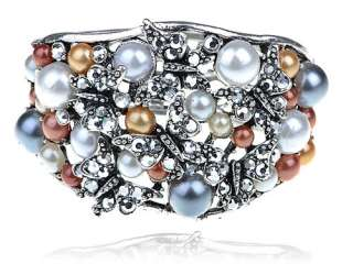 Crystal Rhinestone Faux Pearl Butterfly Bracelet Bangle Cuff