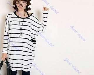 Women Stripe Off Shoulder Long Top Batty T shirt Dress