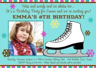 ICE SKATING CUSTOM BIRTHDAY INVITATIONS (U PRINT)