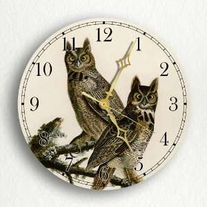Great Horned Owl John James Audubon 8 Silent Wall Clock