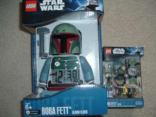 LEGO STAR WARS Boba Fett WATCH w/MINIFIG FIGURE or clock or lot of 2