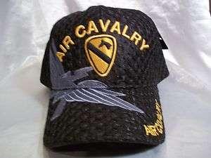AIR CAVALRY BALL CAP HAT IN BLACK AIR MESH W/ GOLD NWT OSFM