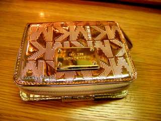 New MICHAEL KORS ITEMS Jet Set bi fold French WALLET ROSE Gold