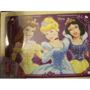 Disney Princess 12 Piece Wood Puzzle ~ Belle, Cinderella, & Snow White