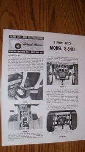 WHEEL HORSE 3 POINT HITCH Manual Model 8 5411