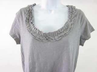 CREW Gray Ruffled Short Sleeve Shirt Top Size Medium