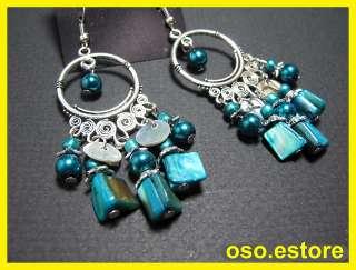 Fashionable Blue Bead Dangle Earrings (#5929E 07)