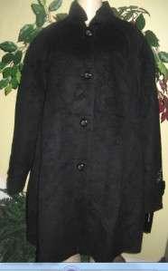 Jones New York womens winter Alpaca Wool blend black coat jacket plus