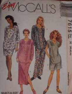 McCalls Pattern 7615 Womens Tunic Pants Skirt 40W 50W