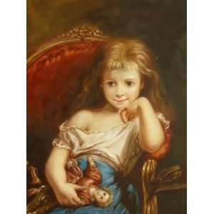 inch Figure Canvas Art Cute Little Girl with a Doll: Home & Kitchen