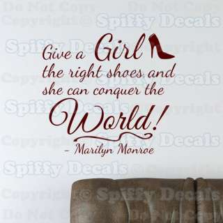 GIRL SHOES CONQUER WORLD MARILYN MONROE Quote Vinyl Wall Decal Sticker