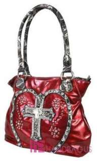 LOVE Rhinestone CROSS BLING Tote Purse Handbag Wallet SET Red